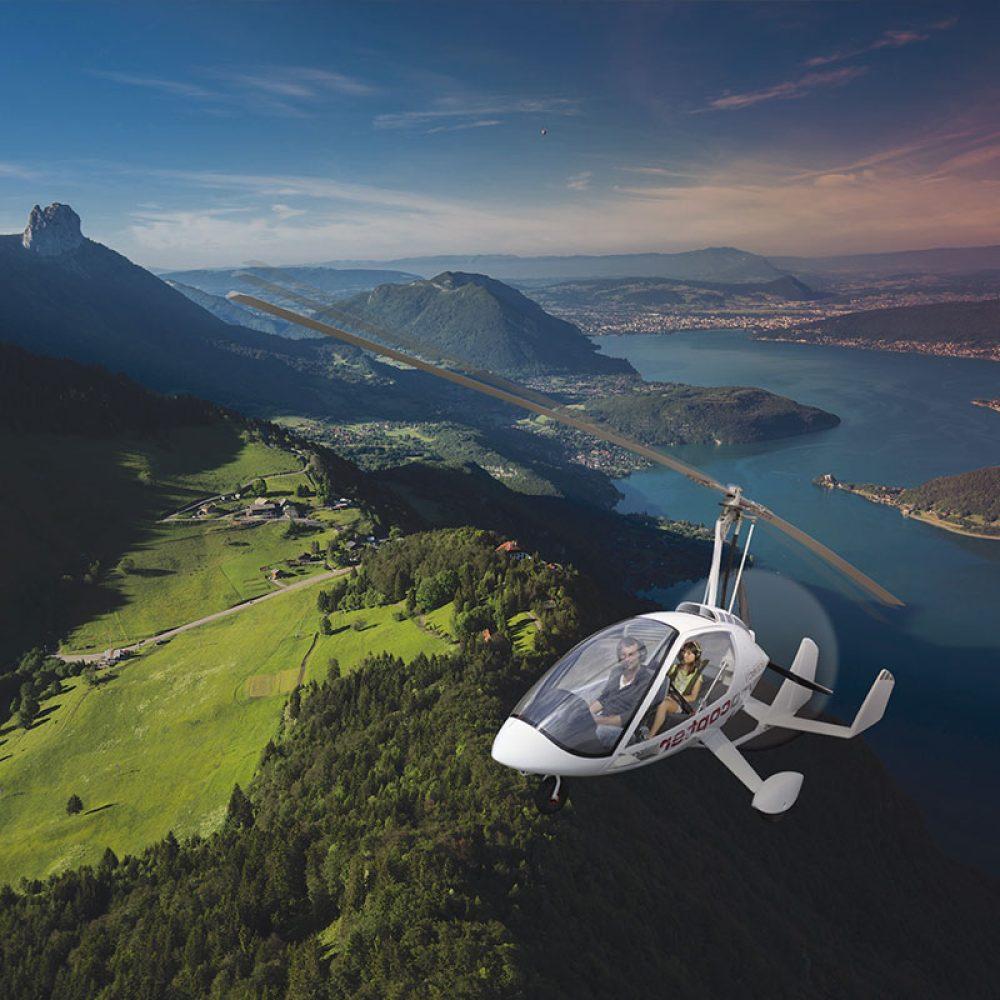 Gyrocoptère survol Annecy