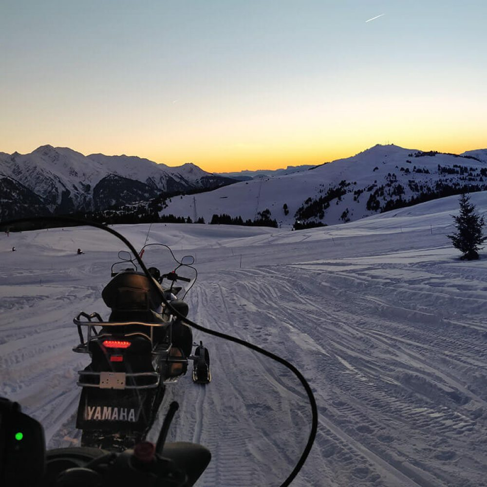 Snowmobiling by night