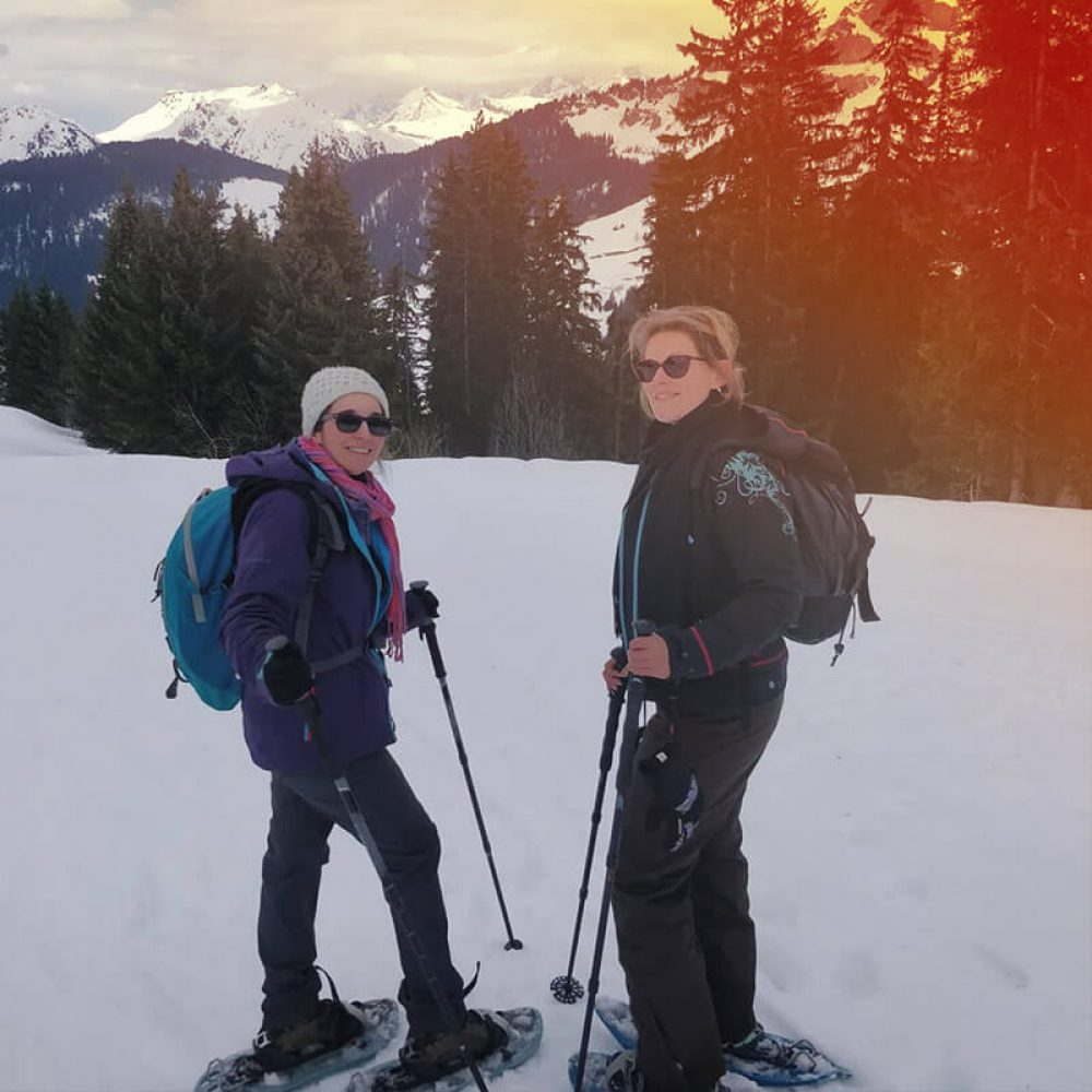 Snowshoe hiking near annecy