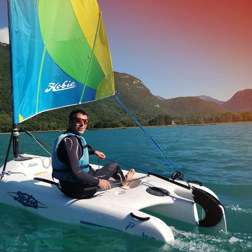 Sailing boat on Lake Annecy